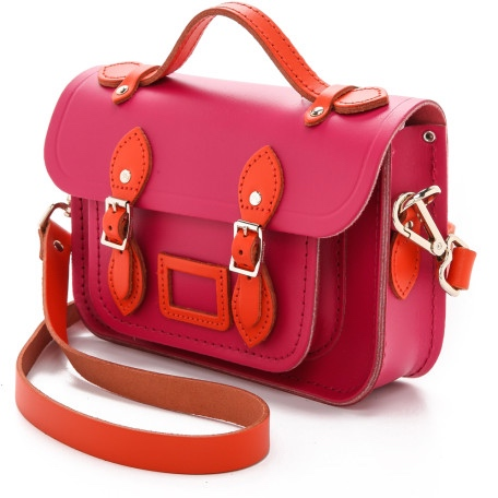 Cambridge Satchel The Mini orange hot and pink.jpeg