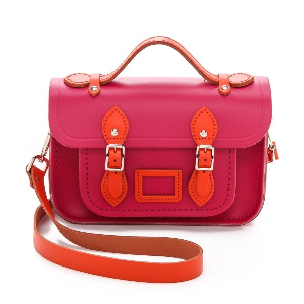 Cambridge Satchel The Mini orange hot and pink_1-2